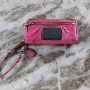 Coach Poppy Wallet - pink and leopard